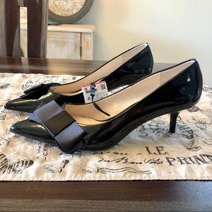 NWT Zara Black Patent Kitten Heel Bow Pumps Sz 41